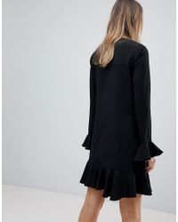 ASOS Black Fluted Sleeve Ruffle Hem Mini Dress