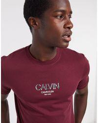 Бордовая Футболка С Контрастным Логотипом Asos-красный Calvin Klein для него, цвет: Red
