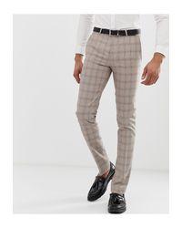 Twisted Tailor – Extrem enge, kleinkarierte Anzugshose in Natural für Herren