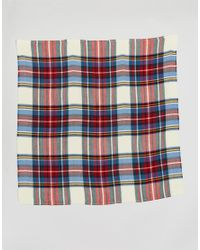 ASOS - Multicolor Oversized Square Scarf In White Based Plaid - Lyst