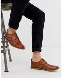 Светло-коричневые Кожаные Броги С Крепированной Подошвой ASOS для него, цвет: Brown