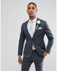 New Look Blue Linen Suit Jacket In Navy for men