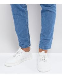 ASOS - Asos Wide Fit Lace Up Trainers In White Leather for Men - Lyst