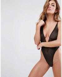 ASOS Black Bambi Fishnet High Leg Bodysuit