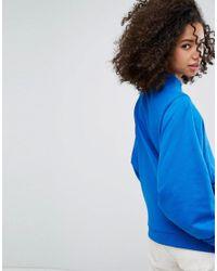 Monki - Blue Balloon Sleeve Ring Pull Zip Sweat Sweater - Lyst
