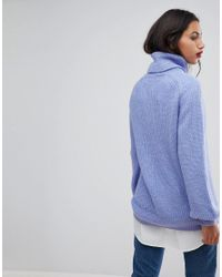 Vero Moda Blue Roll Neck Sweater With Balloon Sleeves