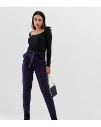 PRETTYLITTLETHING Blue Paper Bag Waist Trousers