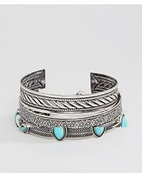 ASOS Metallic Bangle Pack In Burnished Silver And Turquoise Stones for men