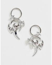 ASOS Metallic Earrings In Tattoo Design In Silver Tone