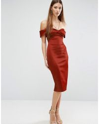 ASOS - Red Folded Bardot Pencil Dress With Halter Strap Detail - Lyst