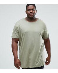 River Island Green Plus Curve Hem T-shirt In Olive for men