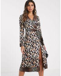 Платье Миди С Запахом, Поясом И Звериным Принтом -мульти Missguided, цвет: Black