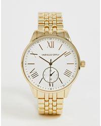 Золотистые Наручные Часы С Римскими Цифрами ASOS для него, цвет: Metallic