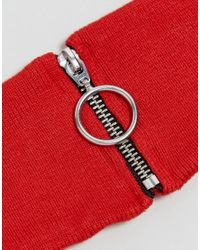 ASOS - Red Asos Rib Neck Band With Ring Pull - Lyst