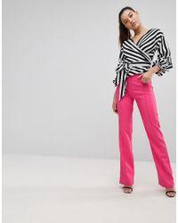 PRETTYLITTLETHING Pink High Waist Straight Leg Trousers