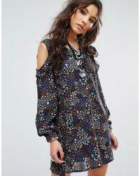 Glamorous Multicolor Festival Cold Shoulder Dress In Ditsy Floral Print