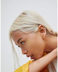 ASOS - Metallic Sterling Silver Stud And Chain Ear Cuff Earrings - Lyst