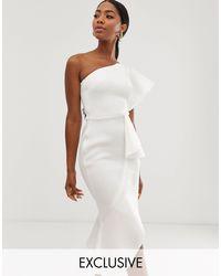 Белое Асимметричное Платье Миди На Одно Плечо Эксклюзивно От -белый True Violet, цвет: White