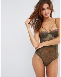 ASOS - Green Anastasia Lace Half Cup Strappy Body - Lyst