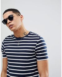 ASOS - Round Sunglasses In Black With Gold Arms for Men - Lyst