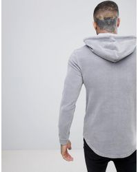ASOS - Muscle Hoodie In Gray Velour With Curved Hem for Men - Lyst