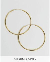 ASOS Metallic Gold Plated Sterling Silver 60mm Hoop Earrings