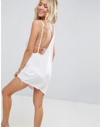 ASOS - White Beach Palm Tree And Sunset Embroidered Asymmetric Cover Up - Lyst