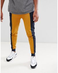 ASOS Blue Skinny Sweatpants With Color Blocking for men