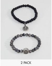 Seven London - Black & Gray Beaded Bracelet In 2 Pack for Men - Lyst