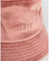 ASOS Bucket Hat In Pink Velour With Tonal Youth Embroidery for men