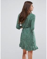 Vero Moda Green Polka Dot Wrap Dress