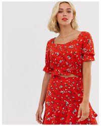 Pieces Red – Kurzes Hängerkleid mit Blumenprint