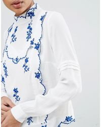 ASOS | White Blouse With China Blue Embroidery | Lyst