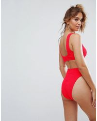 ASOS Red Mix And Match Crinkle High Leg High Waist Bikini Bottom