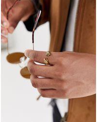 Anillo estilo mano en tono dorado exclusivo en ASOS Reclaimed (vintage) de hombre de color Multicolor