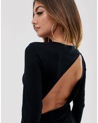 ASOS Uitgaan - Halflange Rugloze Bodycon-jurk Met Lange Mouwen in het Black