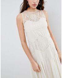 ASOS Natural Lace Paneled Drop Hem Midi Dress