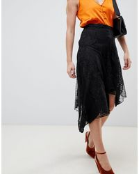 River Island Black Lace Assymetic Midi Skirt