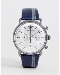 Часы-хронограф 43 Мм С Кожаным Ремешком Ar11202 Aviator Emporio Armani для него, цвет: Blue