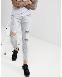 3fd5d26095f76 Bershka Super Skinny Jeans In Grey With Knee Rips in Gray for Men - Lyst