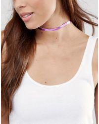 ASOS - Metallic Pink Choker Necklace - Lyst