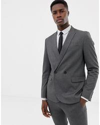 Only & Sons – Zweireihige Anzugjacke in Gray für Herren