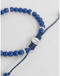 Fossil - Mens Adjustable Blue Bead Bracelet for Men - Lyst