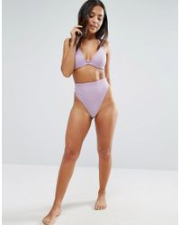 ASOS - Purple Fuller Bust Mix And Match Hidden Underwire Bikini Top In Rib Dd-g - Lyst