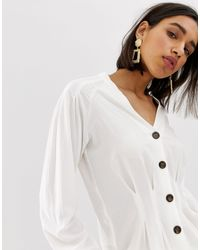Mango White – Bluse mit Knopfleiste