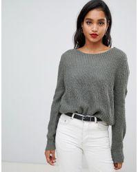 Vila Green Balloon Sleeve Rib Sweater
