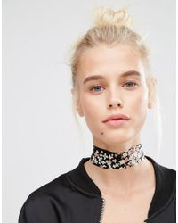 ASOS - Black Floral Choker Necklace - Lyst