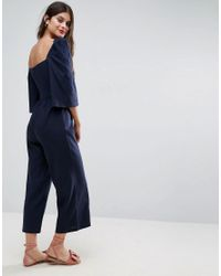 ASOS Blue Tie Front Bodice Jumpsuit With Flared Sleeve Detail