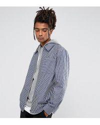 Reclaimed (vintage) Blue Inspired Coach Shirt In Stripe for men