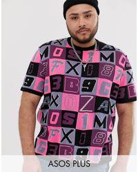 Plus - T-shirt en maille avec motif lettre ASOS pour homme en coloris Pink